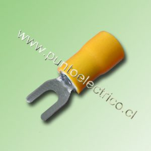 TERMINAL HORQUILLA 12/10AWG COLOR AAMARILLO PERF. 4mm