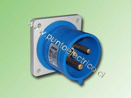 ENCHUFE MACHO EMBUTIDO 2P+T 32Amp. 220VAC. IP44