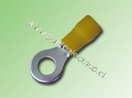 TERMINAL ANILLO 12/10 AWG COLOR AMARILLO PERF. 6.3mm