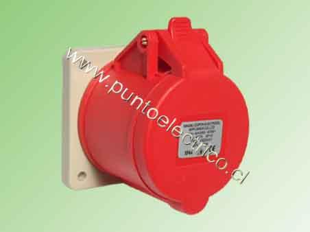 ENCHUFE HEMBRA EMBUTIDA 3P+T 32Amp. 380VAC. IP44